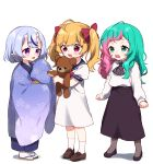 3girls :d ahoge bangs black_footwear black_skirt blonde_hair blue_hair blue_kimono blue_sailor_collar blush bow brown_footwear commentary_request crying crying_with_eyes_open dress eyebrows_visible_through_hair genderswap genderswap_(mtf) green_eyes green_hair grey_legwear hair_bow holding holding_stuffed_animal horns japanese_clothes joe_rikiichi kimono loafers long_hair long_sleeves mole mole_under_mouth multicolored_hair multiple_girls nijisanji obi oni oni_horns open_mouth pantyhose pink_hair puffy_short_sleeves puffy_sleeves red_bow red_eyes rindou_mikoto sailor_collar sailor_dress sash shadow shirt shoes short_eyebrows short_sleeves skirt sleeves_past_fingers sleeves_past_wrists smile snot socks standing streaked_hair stuffed_animal stuffed_toy tabi takamiya_rion tears teddy_bear thick_eyebrows twintails two-tone_hair violet_eyes virtual_youtuber wavy_mouth white_background white_dress white_legwear white_shirt yamabukiiro younger zouri