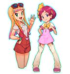 2girls :d bangs blonde_hair blunt_bangs bow breasts capelet closed_mouth collarbone cropped_legs dress earrings eyewear_on_head garter_straps gradient_hair green_eyes hair_bow hairband hand_on_hip highres jewelry largo_(pokemon) looking_at_viewer makeup mascara multicolored_hair multiple_girls nyonn24 off-shoulder_shirt off_shoulder open_mouth pink_dress pink_footwear pink_hair pokemon pokemon_(anime) pokemon_m21 red-framed_eyewear red_lips redhead risa_(pokemon) shiny shiny_hair shirt short_dress short_hair sidelocks simple_background small_breasts smile standing sunglasses thigh-highs violet_eyes white_background white_capelet white_legwear white_shirt yellow_bow yellow_hairband yellow_neckwear zettai_ryouiki