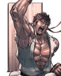 1boy abs bara black_hair chest facial_hair headband looking_at_viewer male_focus muscle nikism pectorals ryuu_(street_fighter) solo street_fighter street_fighter_ii_(series) stubble toned toned_male
