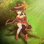1girl black_gloves brown_hair gloves hat kono_subarashii_sekai_ni_shukufuku_wo! megumin meru_rumi red_eyes short_hair_with_long_locks witch_hat