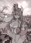 absurdres ball beach beach_volleyball bikini blonde_hair boo bowsette chain_chomp dokuro_deluxe goomba highres horns mario mario_(series) monochrome new_super_mario_bros._u_deluxe pointy_ears super_crown swimsuit tail