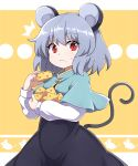 /\/\/\ 1girl :< absurdres animal_ears animal_print aqua_capelet bangs big_hair black_dress breasts capelet cheese closed_mouth constricted_pupils cowboy_shot crumbs dress eating eyebrows_visible_through_hair food food_on_face grey_hair hands_up highres holding holding_food letterboxed long_dress long_sleeves looking_at_viewer mandarin_collar mouse_ears mouse_print mouse_tail nazrin popped_collar raised_eyebrows red_eyes rizento shiny shiny_hair shirt short_hair sidelocks small_breasts solo sweatdrop tail touhou undershirt white_shirt yellow_background