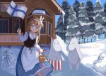 1boy 2girls blue_eyes blush easter_egg egg finnish_clothes finnish_flag girls_frontline highres light_brown_hair moomin moominmamma moomintroll multiple_girls natsuki_(digretking) snow suomi_kp31_(girls_frontline) waving_flag winter