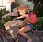 1boy 1girl ^_^ ass backpack bag bare_shoulders bicycle blush breasts brown_hair child closed_eyes coffee-milk-moumou collar commentary_request fang fang_out fat ground_vehicle highres hug original outdoors randoseru shorts small_breasts smile tan tank_top tanline twintails yuma_(coffee-milk-moumou)