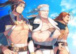 3boys abs alternate_costume bara beard brown_eyes chest collarbone crossed_arms eugen_(granblue_fantasy) facial_hair fundoshi granblue_fantasy haneten_kagatsu japanese_clothes jin_(granblue_fantasy) male_focus multiple_boys muscle mustache no_nipples pectorals sanbagarasu_otoko_uta scar sky smile soriz upper_body