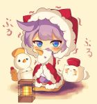 1girl azur_lane blue_eyes blush cat chibi cold fur_trim heater highres holding holding_stuffed_animal hood hood_up inkyubeiteo looking_at_viewer purple_hair snowman stuffed_animal stuffed_toy trembling unicorn_(azur_lane) yellow_background