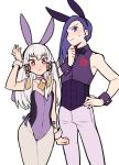 1boy 1girl adapted_costume animal_ears closed_mouth do_m_kaeru fake_animal_ears fire_emblem fire_emblem:_three_houses hair_ornament leotard long_hair lorenz_hellman_gloucester lysithea_von_ordelia pants pink_eyes purple_hair rabbit_ears short_hair simple_background sleeveless violet_eyes white_background white_hair white_legwear wrist_cuffs