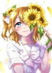 1girl bangs blue_eyes blush brown_hair closed_mouth commentary_request eyebrows_visible_through_hair flower hair_between_eyes hair_flower hair_ornament hair_ribbon hand_up highres holding holding_flower kousaka_honoka long_hair looking_at_viewer love_live! love_live!_school_idol_project mono_land nail_polish one_eye_covered petals ribbon sailor_collar school_uniform serafuku shirt short_sleeves signature smile solo sunflower two_side_up upper_body white_neckwear white_ribbon white_sailor_collar white_shirt yellow_flower yellow_nails