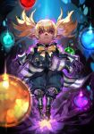 1girl aura blonde_hair bow bowtie dark_background final_fantasy final_fantasy_xi floating glowing glowing_eyes hankuri looking_at_viewer outstretched_arms pink_eyes pointy_ears shantotto solo twintails