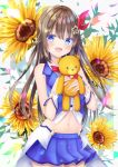 1girl absurdres ankimo_(tokino_sora) blue_eyes brown_hair commentary_request floral_background flower highres hololive huge_filesize long_hair looking_at_viewer navel open_mouth ribbon sleeveless solo stuffed_animal stuffed_toy sunflower teddy_bear tokino_sora virtual_youtuber