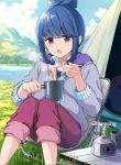 1girl bangs blue_hair blue_sky blurry blurry_background chair clouds cloudy_sky collared_shirt commentary cup day depth_of_field eating eyebrows_visible_through_hair food fork green_shirt grey_jacket holding holding_cup holding_fork jacket long_sleeves looking_at_viewer mirai_denki noodles open_clothes open_jacket open_mouth outdoors pants pants_rolled_up propane_tank purple_pants ramen shima_rin shirt short_hair sidelocks sitting sky solo steam striped striped_shirt tent vertical_stripes violet_eyes yurucamp