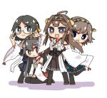 4girls :d ahoge aneko_(toshishitanoane) bare_shoulders black_hair blue_eyes blue_skirt boots brown_eyes brown_hair brown_skirt chibi detached_sleeves glasses green_skirt grey_hair hakama_skirt haruna_(kantai_collection) headgear hiei_(kantai_collection) kantai_collection kirishima_(kantai_collection) kongou_(kantai_collection) leg_up long_hair looking_at_viewer multiple_girls nontraditional_miko open_mouth plaid plaid_skirt red_skirt seiza short_hair simple_background sitting skirt smile thigh-highs thigh_boots v-shaped_eyebrows violet_eyes white_background wide_sleeves