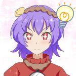 +_+ 1girl blush cato_(monocatienus) commentary_request hair_ornament light_bulb looking_at_viewer pink_background portrait purple_hair red_eyes red_shirt rope shirt short_hair simple_background smile solo sparkle touhou v-shaped_eyebrows yasaka_kanako