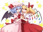 2girls back_bow bat_wings blonde_hair blue_hair bow crystal eyebrows_visible_through_hair fang flandre_scarlet frills hat hat_ribbon highres holding_hands interlocked_fingers looking_at_viewer medium_hair mob_cap multiple_girls open_mouth pink_headwear pink_shirt pink_skirt puffy_short_sleeves puffy_sleeves red_bow red_eyes red_neckwear red_ribbon red_skirt red_vest remilia_scarlet ribbon rizento shirt short_sleeves siblings side_ponytail sisters skirt smile star_(symbol) touhou upper_body vest white_background white_bow white_headwear white_shirt wings yellow_neckwear