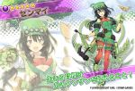 :d bandaid black_hair breasts character_name copyright_name detached_sleeves dmm eyebrows_visible_through_hair floral_background flower_knight_girl full_body gloves green_footwear green_gloves hair_between_eyes hammer hat long_hair looking_at_viewer medium_breasts multiple_views object_namesake official_art open_mouth pouch projected_inset red_legwear smile spatula standing star_(symbol) twintails yuguru zenmai_(flower_knight_girl)