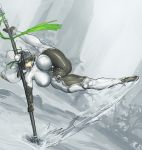1girl black_hair bodysuit breasts bun_cover cape covered_navel double_bun elbow_gloves fate/grand_order fate_(series) fingerless_gloves flexible gloves green_eyes green_ribbon holding holding_spear holding_weapon huge_breasts impossible_bodysuit impossible_clothes kicking melon22 motion_lines planted_spear polearm qin_liangyu_(fate) ribbon short_hair sidelocks skin_tight solo spear thick_thighs thighs unaligned_breasts weapon white_bodysuit white_cape