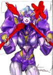 1girl artist_request autobot blue_eyes dual_wielding holding looking_down nautica over_shoulder purple_lips signature sketch solo third-party_source transformers