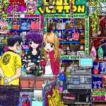 1boy 2girls ace_akira bag bird blonde_hair cash_register closed_mouth commentary_request earrings employee_uniform gloves handbag jewelry leaf long_hair long_sleeves mask mouth_mask multiple_girls necklace open_mouth original penguin purple_hair scenery shirt shop short_hair sleeves_past_wrists smile uniform watch watch white_gloves yellow_shirt