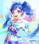 1girl aikatsu!_(series) blue_eyes blue_hair earrings gloves jewelry kiriya_aoi looking_at_viewer midriff navel necklace side_ponytail smile