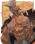 2boys abs bara chest dark_skin dark_skinned_male gakuran groping half_mask horns jacket jacket_on_shoulders male_focus multiple_boys muscle navel nikism nipples pectoral_grab pectorals school_uniform shuten_douji_(tokyo_houkago_summoners) single_horn solo_focus tokyo_houkago_summoners translation_request upper_body white_hair