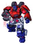 1boy blue_eyes character_name clenched_hand copyright_name gun holding holding_gun holding_weapon mecha no_humans optimus_prime ryuuichirou_(haineken) solo transformers transformers:_war_for_cybertron weapon white_background