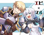 1boy 1girl :d anger_vein armor ars_almal belt blonde_hair blue_eyes breastplate breasts capelet crossed_arms detached_sleeves ex_albio fang gloves highres hood nijisanji open_mouth pauldrons shirt short_hair shoulder_armor sideboob silver_hair sleeveless sleeveless_shirt smile ts_goro virtual_youtuber