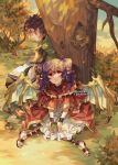 1boy 1girl bird book closed_mouth cup dragon_wings dress fire_emblem fire_emblem:_the_sacred_stones from_side highres holding holding_book holding_cup multi-tied_hair myrrh_(fire_emblem) open_book outdoors purple_hair red_eyes saleh_(fire_emblem) sitting smile tecchen tree twintails twitter_username wings