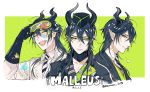 1boy bangs black_gloves black_hair closed_eyes closed_mouth gloves goggles green_eyes hair_between_eyes hat highres horns jacket ko-man labcoat long_hair looking_at_viewer male_focus malleus_draconia necktie open_clothes open_mouth paint_splatter pointy_ears smile solo twisted_wonderland