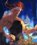 1boy abs alternate_costume apron bara beard chest collarbone cooking dark_skin dark_skinned_male facial_hair headband horns ifrit_(tokyo_houkago_summoners) male_focus manly muscle nikism nipples pectorals pointy_ears red_eyes redhead shirtless solo spiky_hair sweat tokyo_houkago_summoners upper_body