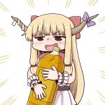 1girl :d blonde_hair blush bow cowboy_shot drunk emphasis_lines hair_bow holding horn_bow horns ibuki_suika jitome long_hair open_mouth poronegi purple_bow red_bow smile solo touhou white_background wristband