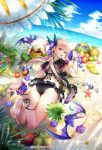 1girl ahoge animal ass banana barefoot bat beach beach_mat bikini black_bikini blonde_hair bracelet breasts butterfly_hair_ornament clouds day flower flower_anklet food from_behind fruit grapes hair_ornament highres holding jewelry legs_up long_hair looking_at_viewer looking_back lying medium_breasts nemusuke ocean official_art on_stomach outdoors pointy_ears red_eyes romancing_saga_re;universe sand slit_pupils solo swimsuit thighs vampire_lady_(romancing_saga) water watermark watermelon
