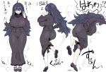 1girl absurdres ahoge alternate_breast_size ass bags_under_eyes black_dress breasts dress feet hairband hex_maniac_(pokemon) highres kedamono_kangoku-tou large_breasts long_dress long_hair looking_at_viewer looking_back messy_hair musical_note open_mouth pokemon purple_hairband ribbed_sweater shoes sidelocks smile soles spinning spiral_eyes sweatdrop sweater toes translated tripping visible_air wavy_mouth white_background