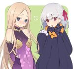 2girls abigail_williams_(fate/grand_order) armlet armor arms_behind_back bangs bare_shoulders bikini_armor black_bow black_dress blonde_hair blue_eyes blush border bow breasts closed_mouth collar cosplay costume_switch detached_sleeves dress earrings fate/grand_order fate_(series) floral_print forehead green_background hair_bow hair_ribbon jewelry kama_(fate/grand_order) long_hair looking_at_viewer metal_collar miniskirt multiple_bows multiple_girls open_mouth orange_bow parted_bangs pelvic_curtain pink_ribbon polka_dot polka_dot_bow purple_dress purple_skirt purple_sleeves red_eyes ribbed_dress ribbon short_hair silver_hair skirt sleeves_past_fingers sleeves_past_wrists small_breasts vivi_(eve_no_hakoniwa) white_border