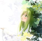 1other absurdres bangs dated enkidu_(fate/strange_fake) fate/strange_fake fate_(series) from_side green_eyes green_hair highres kingu_(fate) leaf long_hair long_sleeves looking_up open_mouth profile seboneko signature solo upper_body wide_sleeves
