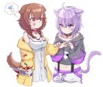 2girls absurdres animal_ears applying_bandaid bandaged_arm bandages bandaid bandaid_on_cheek bandaid_on_face bandaid_on_nose bandaid_on_shoulder blood blood_on_face blood_stain bloody_clothes bloody_weapon blush cat_ears cat_girl cat_tail choker collar dog_ears dog_girl dog_tail highres holding holding_knife hololive injury inugami_korone jewelry knife lajiang multiple_girls nekomata_okayu ring tail thought_bubble virtual_youtuber weapon wedding_ring yuri