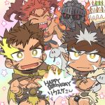 4boys abs beard blush brown_hair cake chest_tattoo chibi dark_skin dark_skinned_male facial_hair flaming_eye food happy_birthday headband helmet hercules_(tokyo_houkago_summoners) horns ifrit_(tokyo_houkago_summoners) looking_at_viewer male_focus multiple_boys muscle nikism pointy_ears redhead spiky_hair standing surtr_(tokyo_houkago_summoners) tangaroa tattoo tokyo_houkago_summoners upper_body white_hair yellow_eyes
