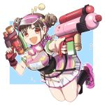 1girl :d antennae breasts brown_hair double_bun fingerless_gloves gloves goggles goggles_around_neck gun hair_ornament heart heart_hair_ornament holding holding_gun holding_water_gun holding_weapon idolmaster idolmaster_shiny_colors musical_note open_mouth red_eyes shoes short_twintails single_glove skirt smile socks solo sonoda_chiyoko super_soaker toy_gun twintails visor_cap water_gun weapon wm_(chawoo1357)