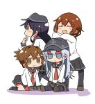 4girls =_= akatsuki_(kantai_collection) anchor_symbol aneko_(toshishitanoane) black_legwear black_sailor_collar black_skirt blue_eyes brown_eyes brown_hair chibi fang flat_cap folded_ponytail hair_ornament hairclip hat hibiki_(kantai_collection) ikazuchi_(kantai_collection) inazuma_(kantai_collection) kantai_collection long_hair long_sleeves looking_at_viewer looking_to_the_side multiple_girls neckerchief pleated_skirt purple_hair red_neckwear sailor_collar school_uniform serafuku shirt short_hair silver_hair simple_background skirt violet_eyes white_background white_shirt