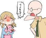 1boy 1girl animal bald beige_shirt blonde_hair blue_shirt commentary_request courage_(character) courage_the_cowardly_dog crying dog drill_hair eustace_bagge glasses green_neckwear holding holding_animal holding_dog idolmaster idolmaster_cinderella_girls idolmaster_cinderella_girls_starlight_stage morikubo_nono open_mouth ro_(aahnn) shirt tears translation_request