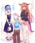3girls adidas ahoge amane_kanata angel angel_wings backpack bag bangs bare_shoulders beret black_hairband black_jacket blue_choker blue_dress blue_eyes blue_hair blue_headwear blue_shirt bow breasts brown_pants casual choker crossed_arms dragon_girl dragon_horns dragon_tail dress eyebrows_visible_through_hair fangs feathered_wings floral_print hair_between_eyes hair_bow hairband halo handbag hat highres hikawa_shou hololive horn_bow horns hoshimachi_suisei jacket jewelry kiryuu_coco large_breasts long_hair long_sleeves looking_at_another multicolored_hair multiple_girls necklace open_mouth orange_hair pants pink_shorts pointy_ears sandals sash shirt short_hair short_shorts short_sleeves shorts side_ponytail silver_hair slippers smile standing star_(symbol) star_choker star_necklace star_print streaked_hair t-shirt tail track_jacket translation_request very_long_hair violet_eyes virtual_youtuber wings
