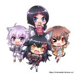 >_o 4girls animal_ear_fluff animal_ears azki_(hololive) black_hair black_shirt black_skirt blue_eyes blush bone_hair_ornament brown_hair cat_ears cat_girl cat_tail chibi colonel_aki commentary detached_sleeves dog_ears dog_girl dog_tail dress english_commentary eyebrows_visible_through_hair fang hair_between_eyes hair_ornament hairclip hololive inugami_korone jacket leg_up long_hair looking_at_viewer multicolored_hair multiple_girls nekomata_okayu one_eye_closed onigiri_print ookami_mio open_clothes open_jacket open_mouth pink_hair purple_hair red_eyes redhead shirt short_hair simple_background skin_fang skirt tail two-tone_hair violet_eyes white_background white_dress wolf_ears wolf_girl wolf_tail yellow_eyes yellow_jacket
