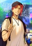 1boy artist_name backpack bag baseball_cap blurry blurry_background closed_mouth dated depth_of_field hand_up happy_birthday hat highres holding jewelry jojo_no_kimyou_na_bouken kakyouin_noriaki kotatsu_(g-rough) looking_at_viewer male_focus necklace red_eyes redhead shirt sketch smile solo stardust_crusaders upper_body white_shirt