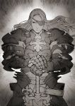 1boy armor breastplate closed_mouth cowboy_shot eyepatch faulds floating_hair full_armor gauntlets greyscale hands_on_hilt highres knight_dervleit_(kotatsu_(g-rough)) kotatsu_(g-rough) long_hair looking_at_viewer male_focus monochrome one_eye_covered original pauldrons planted_sword planted_weapon shoulder_armor solo sword weapon
