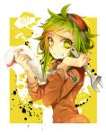 1girl bangs clenched_teeth goggles goggles_on_head green_eyes green_hair gumi haru_(oomr005) highres holding holding_wrench jacket long_sleeves orange_jacket outline paint_splatter short_hair_with_long_locks solo squiggle sweat teeth towel towel_around_neck upper_body vocaloid wrench yellow_background
