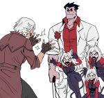 2boys 3girls animal_ears arm_hair bared_teeth black_gloves black_hair black_pants black_vest byeonbulkan casual_suit cerberus_(helltaker) clapping commentary crossover dante_(devil_may_cry) demon_girl demon_tail devil_may_cry devil_may_cry_3 dog_ears dog_girl english_commentary fingerless_gloves gloves helltaker helltaker_(character) highres multiple_boys multiple_girls no_pupils pants parody popped_collar red_shirt sharp_teeth shirt sleeves_pushed_up sunglasses sweatdrop tail taunting teeth trench_coat triplets vest white_hair