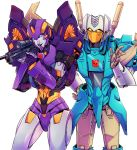 1boy 1girl aiming autobot blue_eyes brainstorm commission dataglitch english_commentary gun hand_on_hip highres holding holding_gun holding_weapon nautica no_humans open_hand transformers visor weapon white_background
