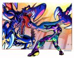 1boy 1girl aiming arm_cannon claws english_commentary fighting highres metroid_fusion monster open_hands open_mouth power_armor ridley samus_aran tail tomycase tongue weapon yellow_eyes