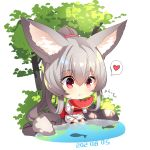 1girl :t absurdres animal animal_ear_fluff animal_ears bangs barefoot chibi closed_mouth commentary_request dated eating eyebrows_visible_through_hair fish food fox_ears fox_girl fox_tail fruit grey_hair hair_between_eyes heart high_ponytail highres holding holding_food japanese_clothes kimono long_hair long_sleeves obi original ponytail red_eyes sash sidelocks sitting solo spoken_heart sweat tail tree very_long_hair water watermelon white_background white_kimono wide_sleeves yuuji_(yukimimi)