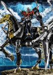 blue_eyes dual_wielding garimpeiro glowing glowing_eyes heterochromia highres holding holding_spear holding_weapon horseback_riding lightning lightning_bolt looking_at_viewer looking_down mazinkaiser_skl mazinkaiser_skl_(mecha) mecha polearm red_eyes riding skeleton_horse skl-rr spear storm super_robot weapon