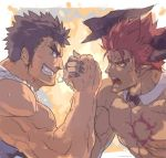 2boys abs arm_wrestling bara beard brown_hair chest chest_tattoo collarbone dark_skin dark_skinned_male facial_hair horns ifrit_(tokyo_houkago_summoners) kengo_(tokyo_houkago_summoners) male_focus manly multiple_boys muscle nikism nipples pectorals pointy_ears red_eyes redhead shirtless sketch spiky_hair tank_top tattoo tokyo_houkago_summoners upper_body